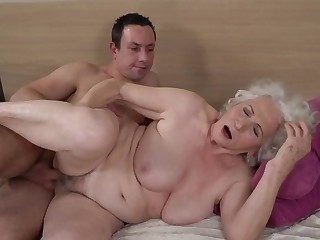 Grey-haired female gets her hairy cunt fucked away from younger house-servant