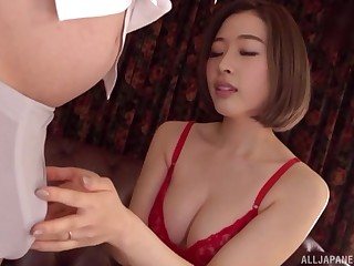 Japanese brunette MILF Honda Misaki takes gone her bra added to sucks weasel words