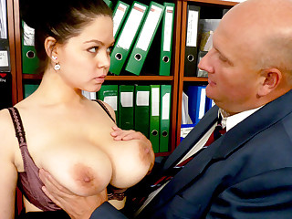 Boss made performers with secretary's huge tits