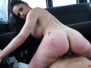 Marta La Croft rides a cock with her huge hither as A in a wheels
