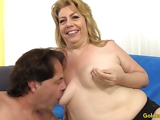 Chubby Granny Penny Sue Shoves Long Cock Between Her Tits and in Her Holes