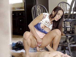 Eva Long rides her lover on along to floor