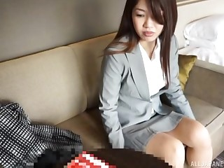 Japanese brunette babe fucked missionary show off and swallows cum