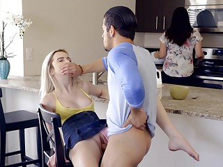 Tight blonde gets fucked with mommy in the room