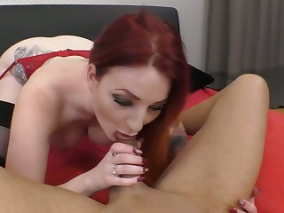 Curvaceous pale redhead Zara DuRose gives head relevant before topping dick