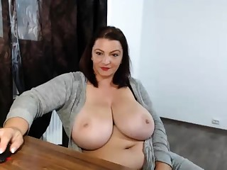 Drinker fat nerdy with big boobs showing off on webcam