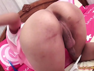 Teen Thai shemale Gof gets ass spanked, because she was a dissolute ungentlemanly today.